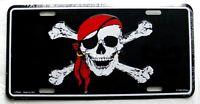 Jolly Roger Skull Cross Bones Pirate Caribbean auto license Plate 12 x 6 inches