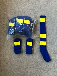 Pack Of 15 PAIRS, kids 1.5-5, royal blue yellow hoops  FOOTBALL SOCKS