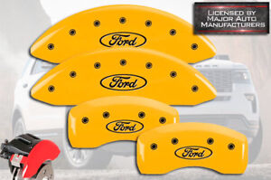 "2013-2019 ""Ford"" Flex Front + Rear Yellow MGP Brake Disc Caliper Covers HD 4pc"