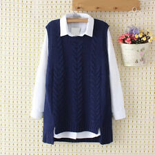 Womens Casual Knit Cotton Sweater Vest Warm Pullover Knitwear Outwear waist coat