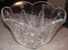 "Christmas Tree Glass Holiday Bowl Dish Scalloped Tulip Rim 4-1/2"" Tall 7"" Diam."