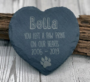 Personalised Pet Cat Heart Slate Stone Memorial Plaque Kitten Cats Grave Marker