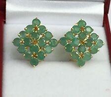 14k Solid Yellow Gold Diamond Shape Omega Back Earrings, Natural Emerald 5.TCW