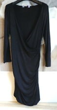 Red Herring Ladies Dress Maternity Black Size 10 Jersey Wrap Smart Party Casual