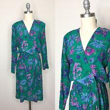 Vintage 80s Raoul 40s Style Floral Wrap Sheath Dress Size Medium