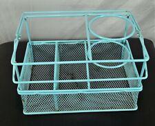 "Aqua metal mesh bathroom counter organizer blow dryer holder 9"" W x 6"" D x 5.5""T"
