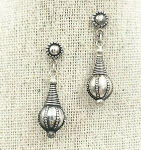 Bali Boho Sterling Silver 925 Ball Scroll Earrings Dangle Filigree Post