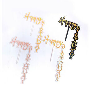 1/4Pcs Happy Birthday Cake Topper Card Actylic Party Multi Color Decor Supplies