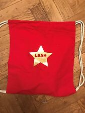PERSONALISED NAMED PE, SWIM, GYM SCHOOL DRAWSTRING COTTON BAG NEW STAR DESIGN