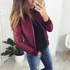 Winter Women Coat Jacket Tops Imitation Leather Overcoat Warm Zip Outwear Fall