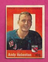 1959-60 TOPPS # 16 RANGERS ANDY HEBENTON VG CARD (INV# C5882)