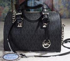 NWT MICHAEL KORS $348 GRAYSON MED MK Sig Chain In BLACK PVC Leather Satchel Bag