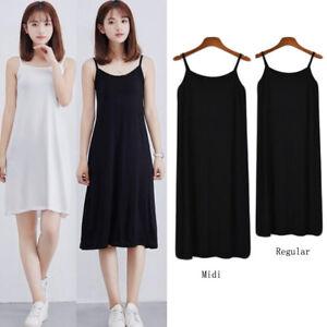 Fashion Ladies Plus Full Slips Modal Camisole Dress Strappy Underdress Petticoat