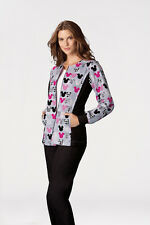 Cherokee Tooniforms Medical Scrubs Mickey Mouse Zip Front Warm Up Jacket Sz L