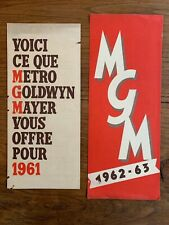 Catalogues Films MGM Metro Goldwyn Mayer de 1961 et 1962