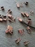 100 Antique Copper 6x3mm Folding Cord Crimp Ends Tips for Cord or Leather UK