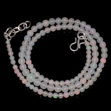 "37CRTS 3to4.8MM 18""ETHIOPIAN OPAL ROUND BALL BEAUTIFUL BEADS NECKLACE OBI547"