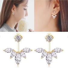 Fashion Women Crystal Rhinestone Ear Stud Flower Bride Earrings Jewelry Gold WT