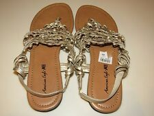 American Eagle Womens Gold Thong Sling back Sandals Sz 7.5