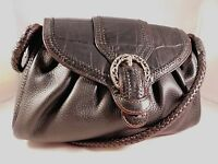 Brighton Dora Black Leather Small Shoulder Bag Purse Silver Rings Braided Strap