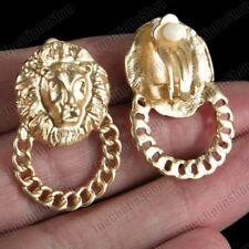 Gold Fashion chain link hoops bling lions Clip On 3cm Earrings lion heads Matt