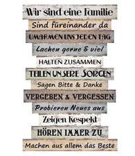 Wandschild Dekoschild Familie Regeln Schild Sprüche Vintage Shabby