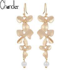 GOLD PLATED Orchidea Fiore Perle Dangle Earrings