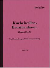 Kurbelwellen-Benzinanlasser Bosch Gerätbeschreibung Bedienungsanleitung D 635/16