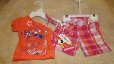 Pinkhouse Infant Girls Pink/Orange One Shoulder Top 2pc Short Set Size 6/9 M NEW