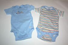 Infant Boys 2 Gerber One Pieces  Blue dino & Stripes Size 3-6 mnths