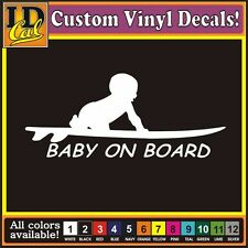 Baby on Board Surf surfing Surfboard Car Truck window funny vinyl decal stickers