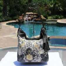 EUC Isabella Fiore Hippie Hobo Marakesh Tapestry Leather Lg Shoulder Bag Purse
