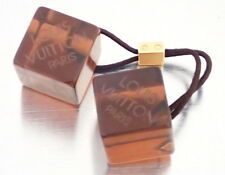 AUTHENTIC Louis Vuitton Hair Accessories Cube Logo Clear Brown Resin