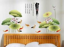 Chinese Painting Lotus Fish Home Room Removable Wall Sticker Decal Decorations