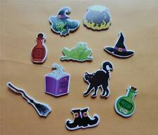 20 Premium Halloween Self Adhesive Shapes Witch Broom Cat Cauldron Shoes Hat Kid