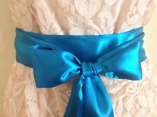 "2.5""X100"" TEAL BLUE  SATIN FABRIC SASH BELT SELF TIE BOW for PARTY WEDDING DRESS"