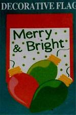 "New  ""Merry & Bright"" Christmas  LARGE DECORATIVE Yard & Garden FLAG  28"" x 40"""