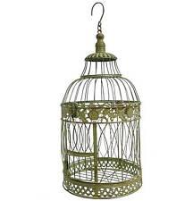 style ancienne grande cage oiseau fer a suspendre avec crochet ronde verte 48cm