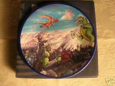 Decorator Plate-Warriors Fighting Dragons from England