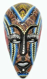 Wooden Multicolored Hand Carved And Painted Mask Made In Jamaica Decor