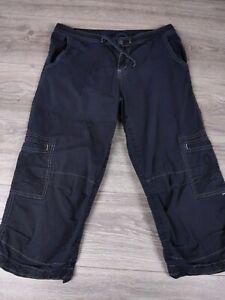 PrAna Women Sz M Capri Cargo Pants Roll Up Cuff Black Pants Hiking Camp
