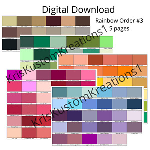 Stampin Up Paper Cardstock Tool Combo Rainbow Order Color Spectrum Swatch Chart