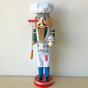 Grill Chef Wooden Nutcracker Figurine Holding with Tool Food 15 inches