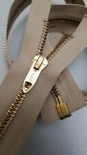 "1-ZIPPER Vtg TALON BRASS&BULLET-SLIDER Jacket/Separating#5Metal=29""/BGE/COTTON"