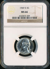 1969-S Jefferson Nickel Ngc Ms66 2Nd Finest