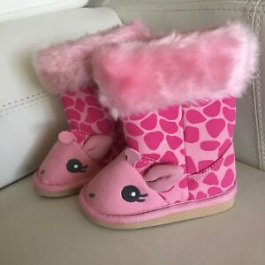 New Gymboree Loveable Giraffe Pink Fur Boots Infant Baby Size 3