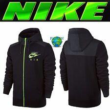 Nike Men's Size L AW77 Fleece Full-Zip Hybrid Hoodie Black Heather/Volt 678532