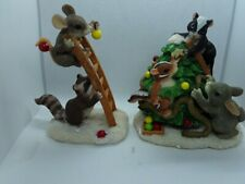 Fitz & Floyd - Charming Tails figurines 2pc. Trimming the Tree 1997