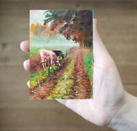 ACEO cows field country road landscape original oil canvas painting art card