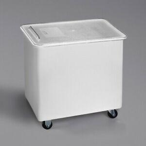 Carlisle BIN2702 27 Gal / 430 Cup White Flat Top Mobile Ingredient Storage Bin
